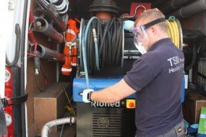 Drain cleaning using high pressure jetter